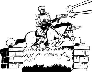Robocop and Unicorn by larsony