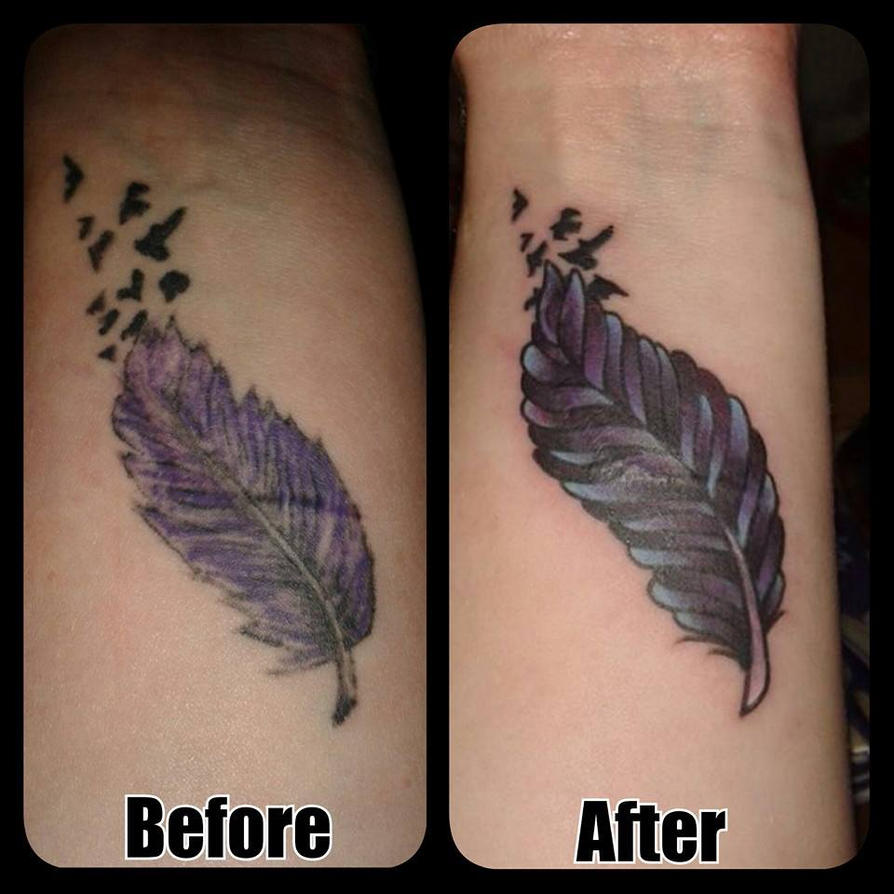 Feather cover up tattoo by boulger on deviantart for How to cover tattoos