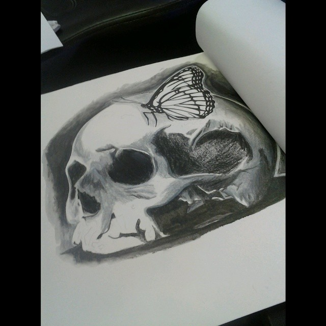 Skull and Butterfly by fbatman666