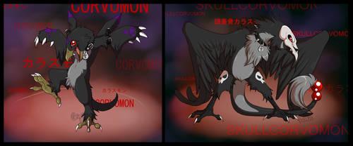 Digimon: Corvomon and Skullcorvomon by grinningLotus