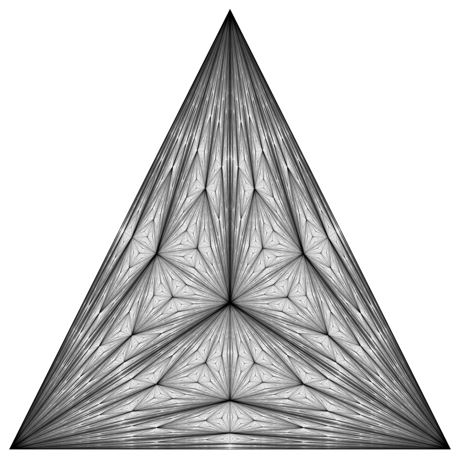 Center of mass Fractal Triangle Balck and White by GarrettNelson