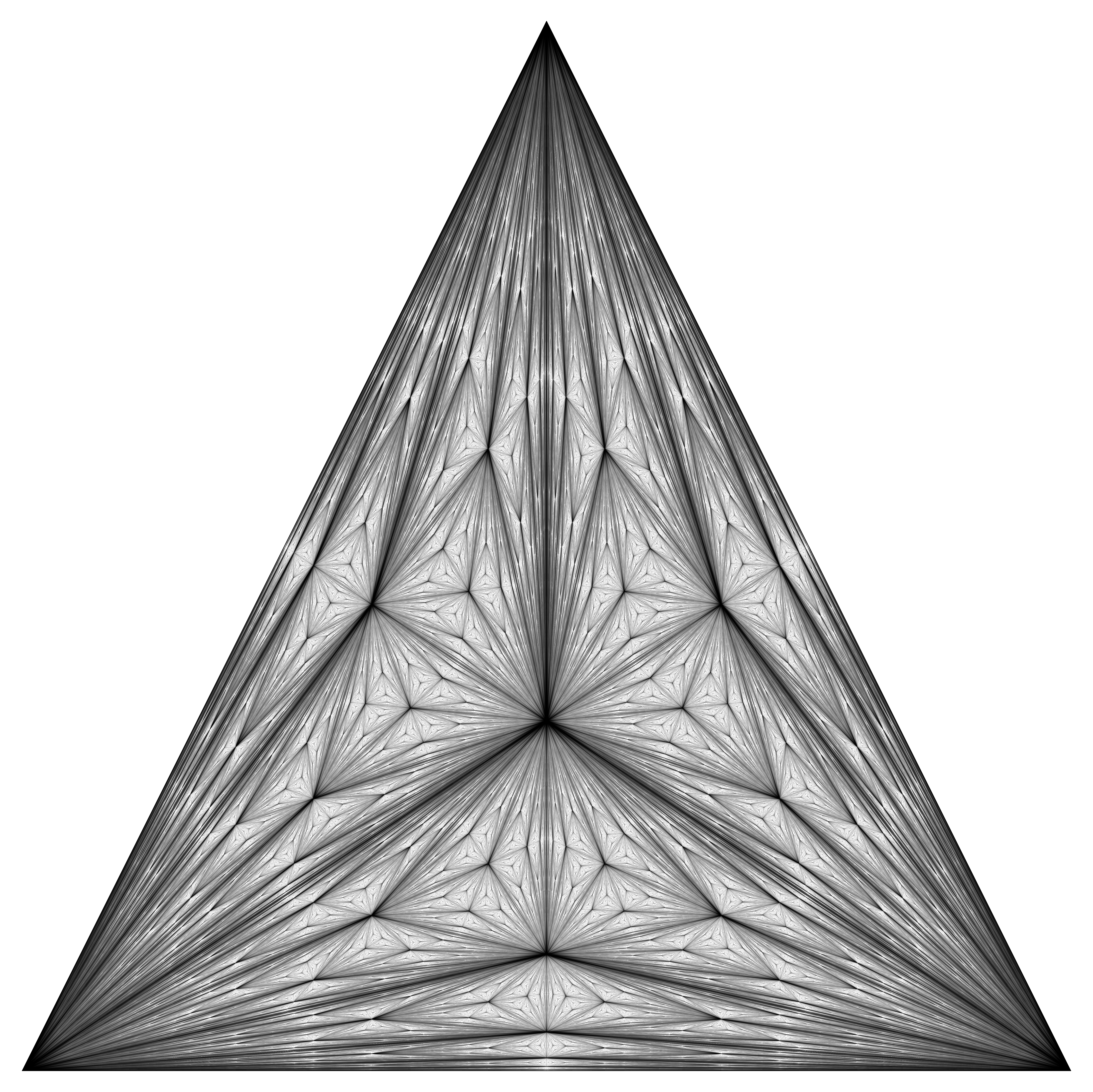 Center of mass Fractal Triangle Balck and White