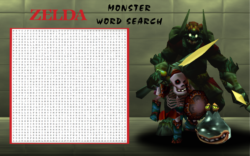 Zelda Monster Word Search by LiquidFrogStudios