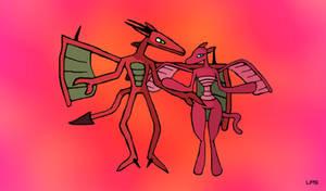 Dragon Pair (Drake and Princess) by LiquidFrogStudios