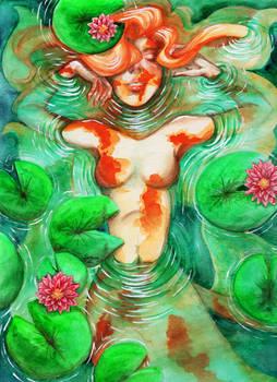 Koi Mermaid Among the Lillies
