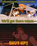 Hercules tells Amy to shut up.