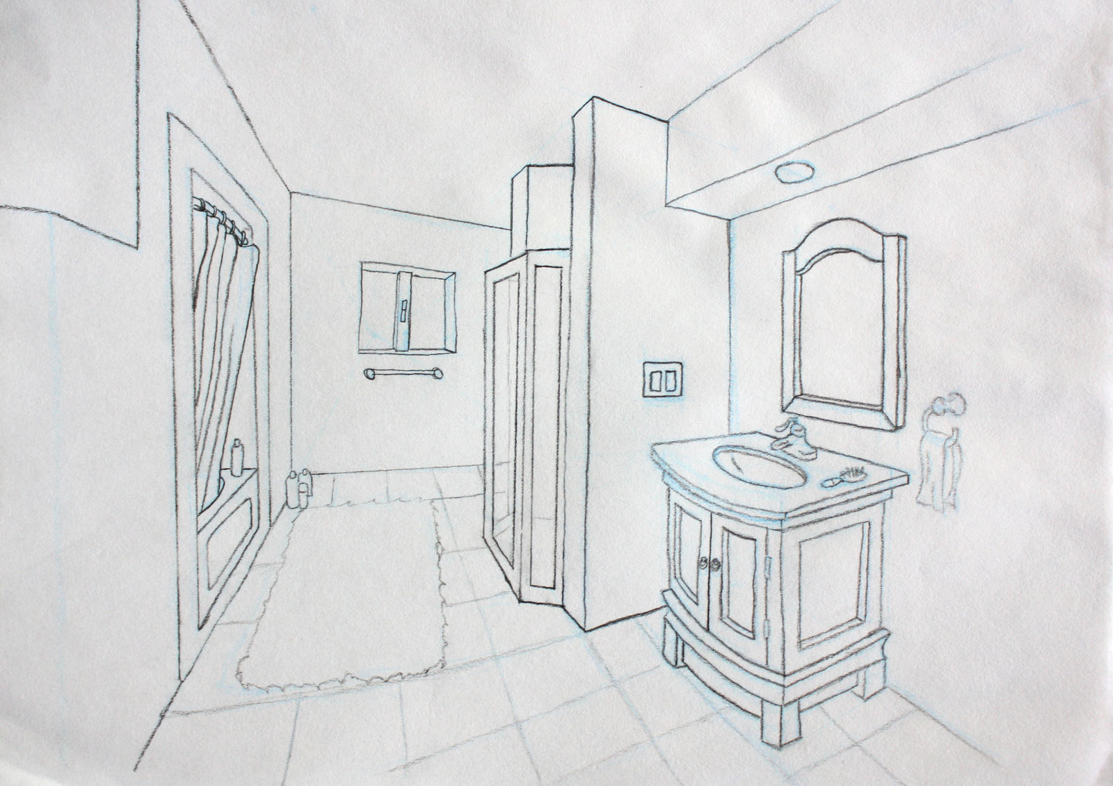 Bathroom perspective drawing - Bathroom Perspective By Andrewosis On Deviantart