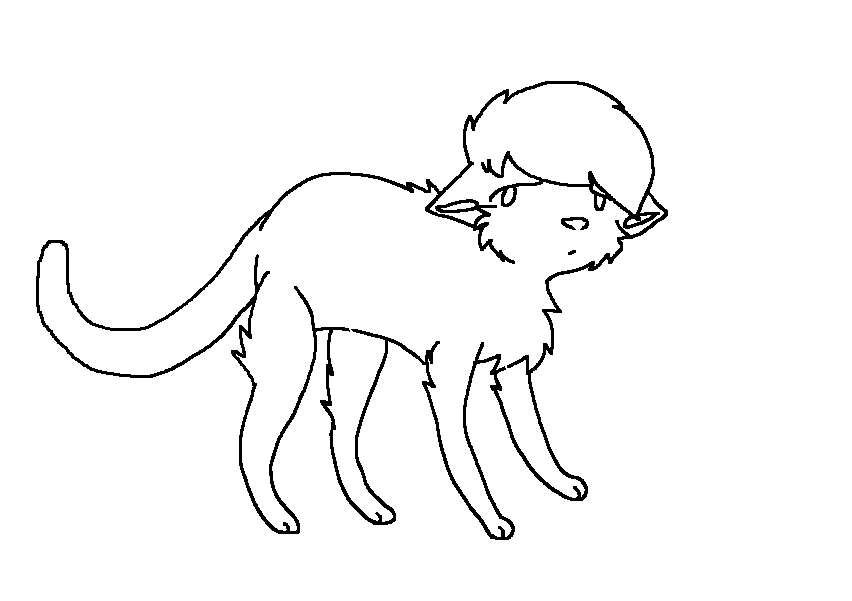 Sad Cat Lineart MS PAINT By Dovepaw3000 On DeviantArt