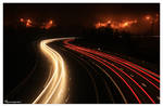 Highway by misty night