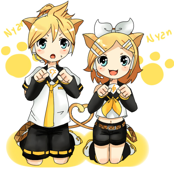 Rin and len chibi neko