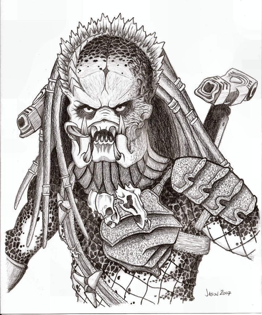 predator vs jason coloring pages - photo#28