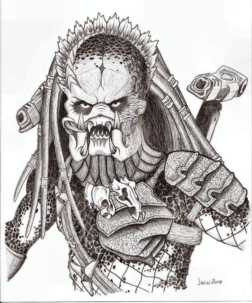 predator vs jason coloring pages - photo#28