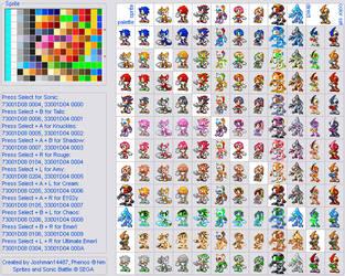 Sonic Battle Palette Chart by Joshman14487