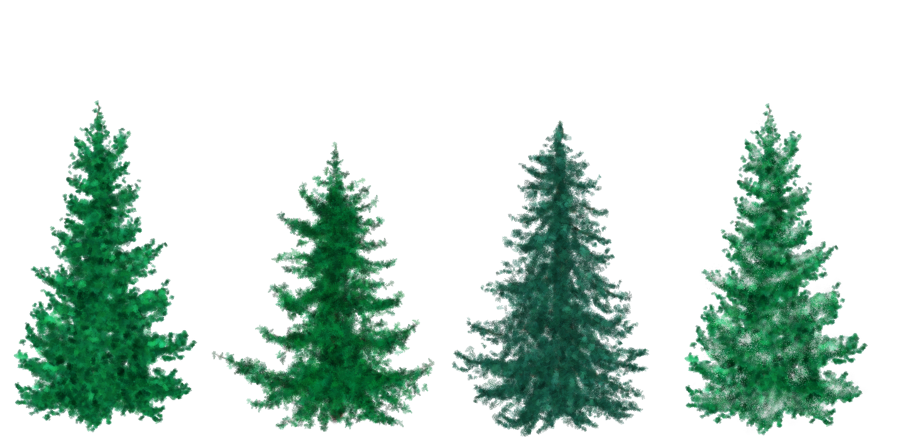 free painted christmas trees by silverbeam - How To Paint A Christmas Tree