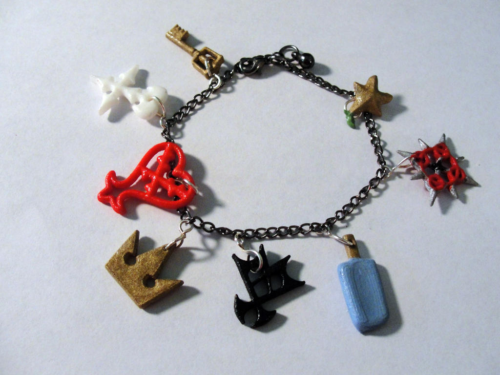 Kingdom  Hearts charm Bracelet by silverbeam