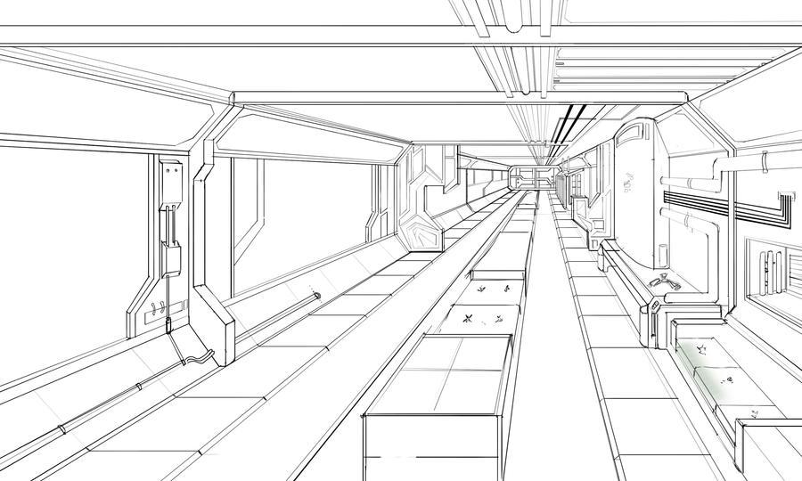 Interior Design Line Art : Spaceship interior lineart by rymin on deviantart