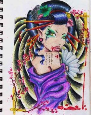 Vampire-artist-geisha by black-apple