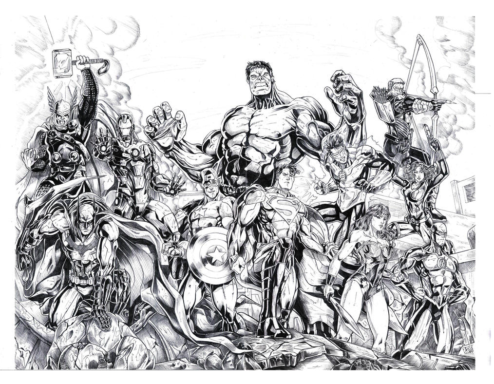 JUSTICE LEAGUE and THE AVENGERS for coloring by jey2dworld on ...