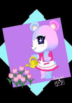 Judy watering flowers