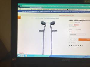 Johnny's metal crutches.