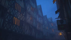 Medieval town ambience scene