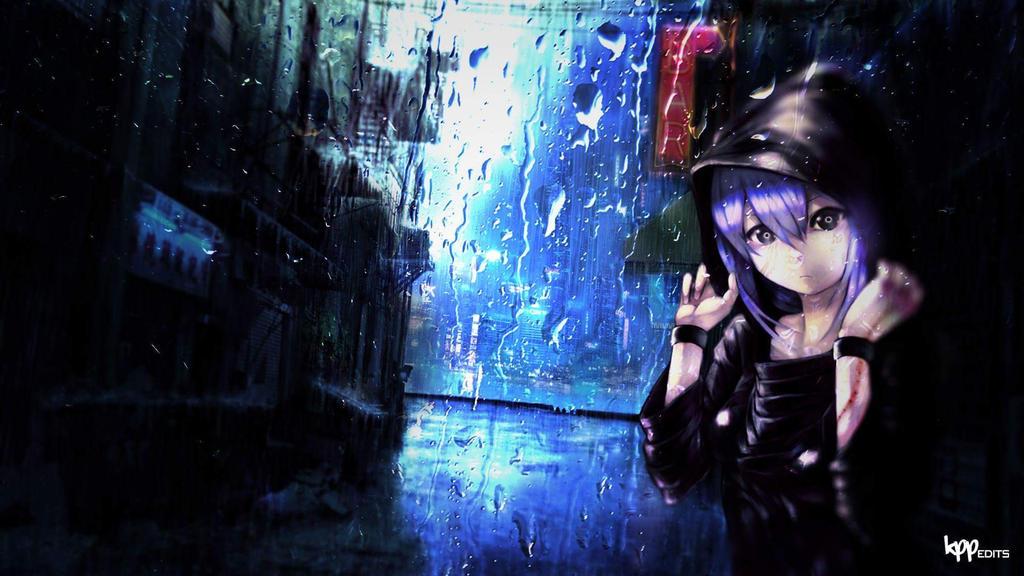 Anime Girl Wallpaper In The Rain By Kpponline
