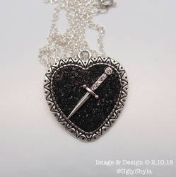 Black Heart And Dagger Necklace by Ugly Shyla