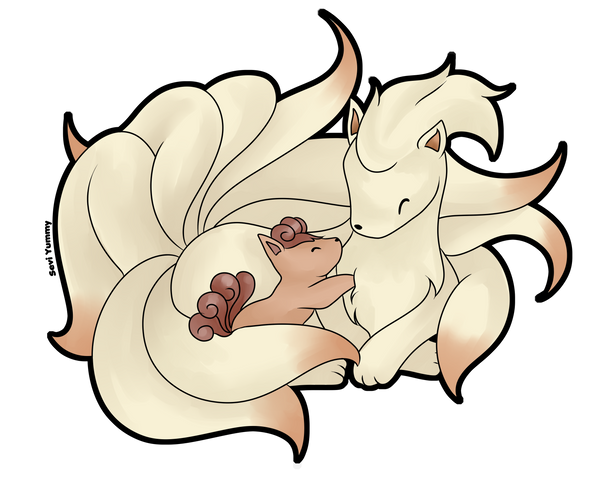 Ninetales and Vulpix by SeviYummy