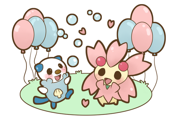 COMMISSION Oshawott and Cherrim by SeviYummy