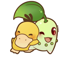 COMMISSION: Chibi Chikorita and Psyduck by SeviYummy