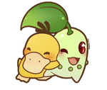 COMMISSION: Chibi Chikorita and Psyduck