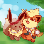 COMMISSION: Eevee and Growlithe