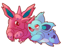 COMMISSION: Chibi Nidorino and Nidorina by SeviYummy
