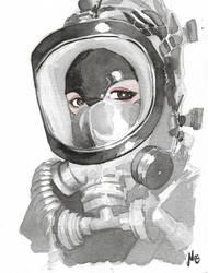 Gasmask Ink selftportrait by ElenaDarkBerry