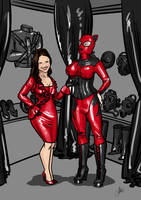 Rubberdoll and Mistress commission by ElenaDarkBerry