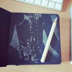 Corset sketch in black paper