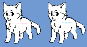 Free lineart - pup/chibi canine - female/male by Wulcanis