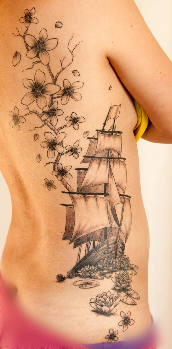 Ship and flowers - flower tattoo