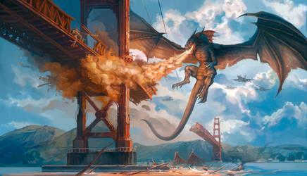 Golden Gate Bridge Dragon Attack