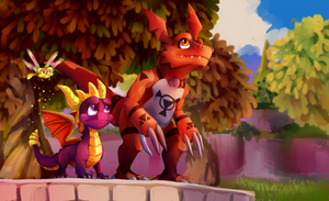 Spyro and guilmon by Vihor405