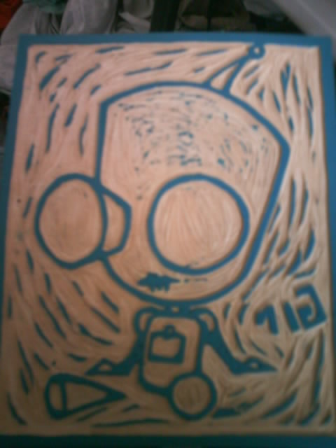 Gir linoleum carving by enieforth on deviantart