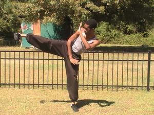 Request- A Gung Fu kick pose