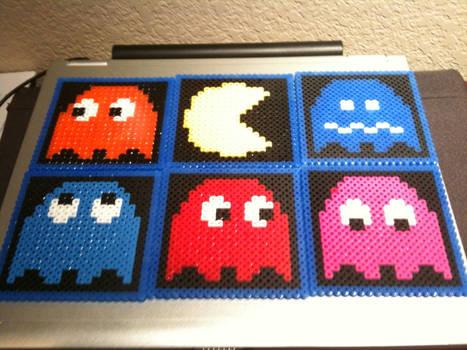 Pacman Perler-bead coasters