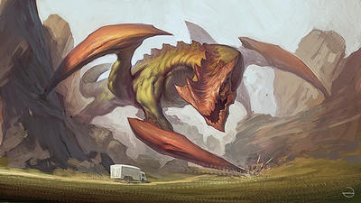 Dragon in mountains  by eksrey