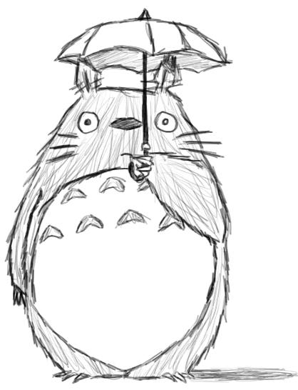 White Totoro Drawing Totoro Umbrella Drawing