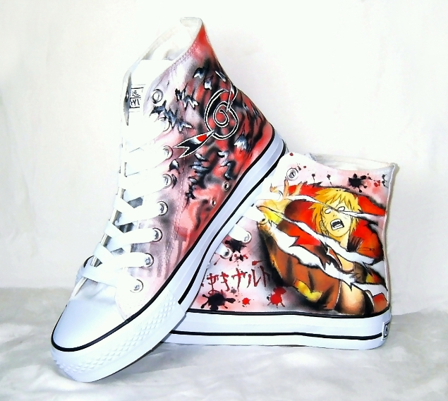 Hand painted Naruto shoes by augurlee