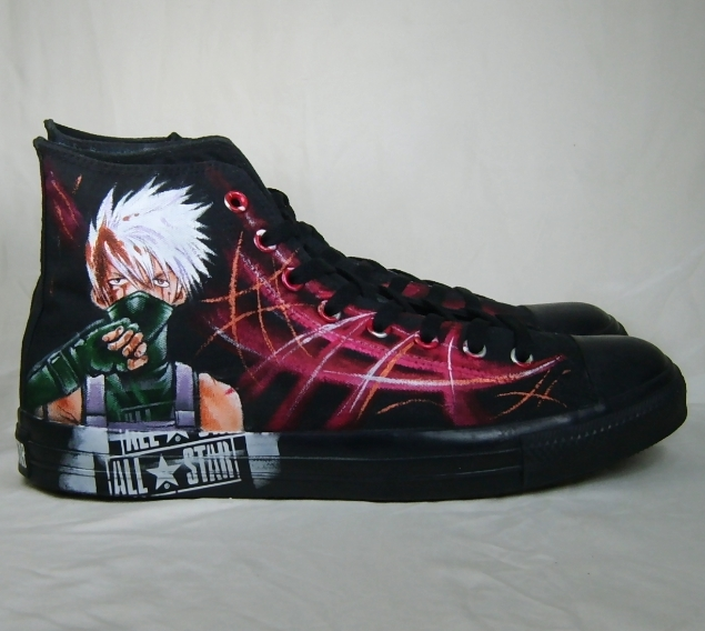Hand painted Kakashi shoes by augurlee