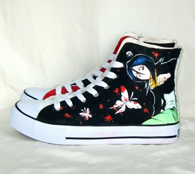 Hand painted cool Rukia shoes by augurlee