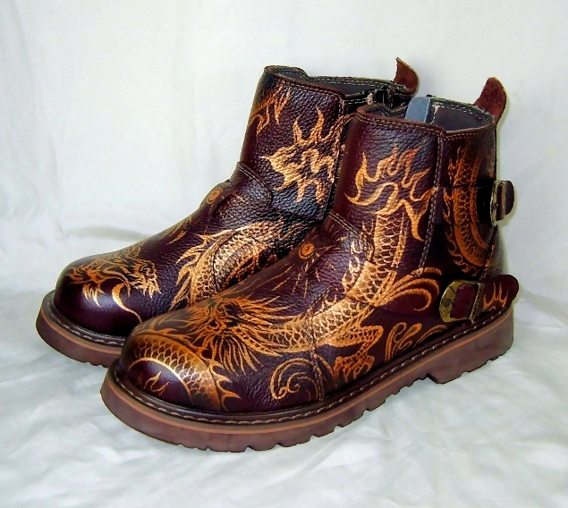 tattoo Golden Dragon boots by augurlee