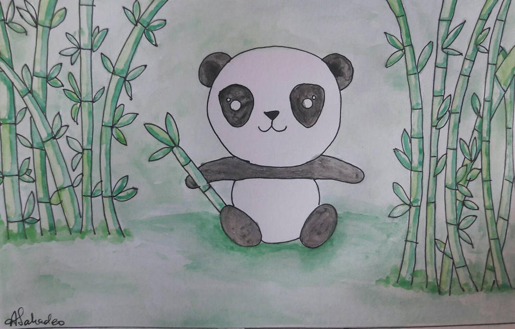 baby panda eating bamboo by cuteinspired on deviantart